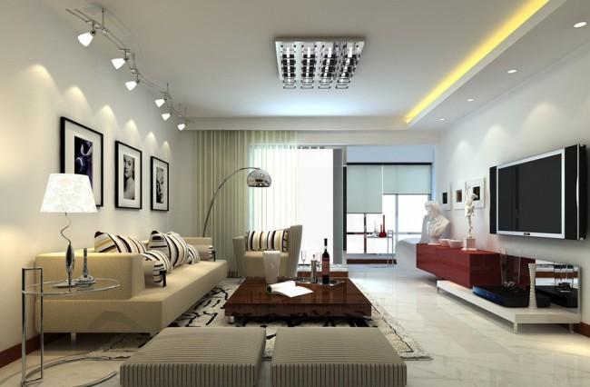 Пример искусственного освещения гостиной