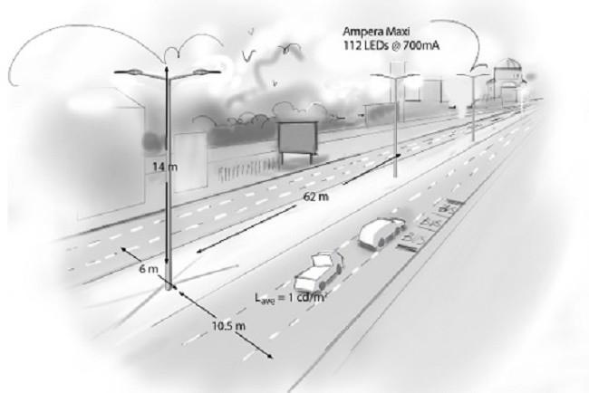 Схема расстояния между столбами освещения