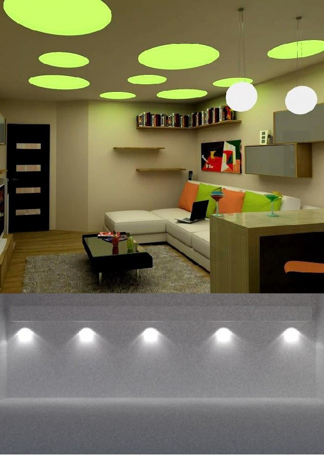 Внешний вид помещения с рассеиным типом подсветки