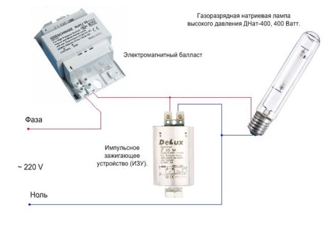 Принцип подключение ламп