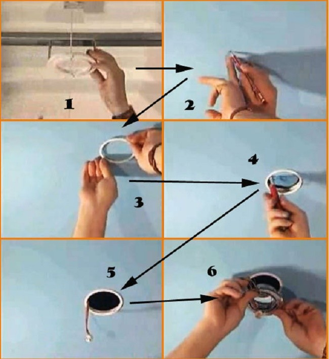 Процесс монтажа встраиваемого светильника