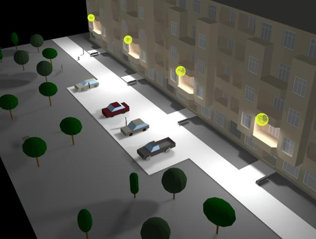 Освещение улицы настенными уличными фонарями
