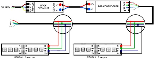 Принцип подключения контроллера