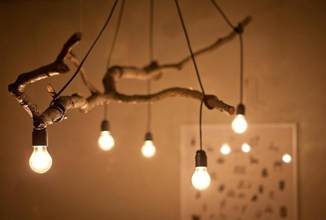 Внешний вид светильника из дерева
