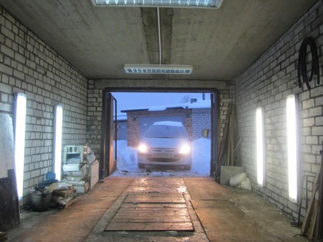Настенное освещение гаража