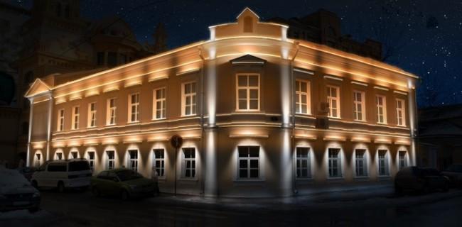 Внешний вид здания с архитектурной подсветкой