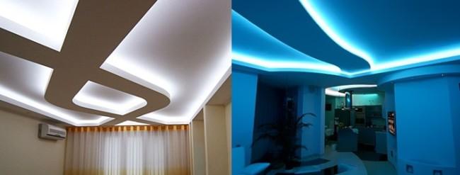 Внешний вид скрытой подсветки потолка