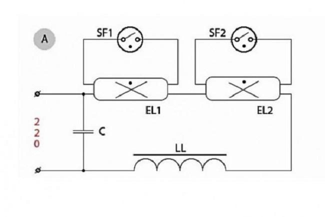 Принцип подключение двух ламп 2х18