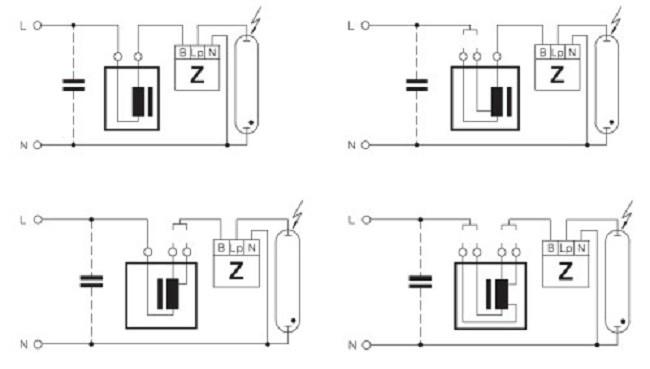 Пример соединения электромагнитного балласта
