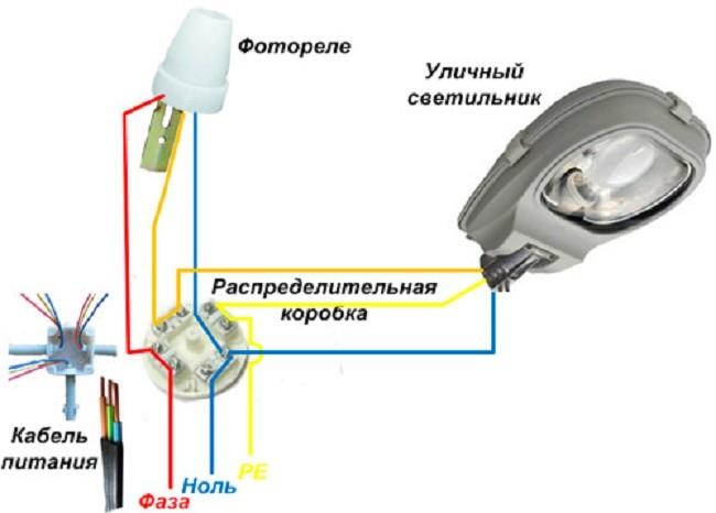 Подключение уличного фонаря к фотореле