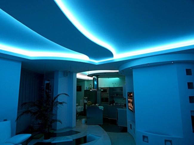 Внешний вид комнаты со светодиодной подсветкой