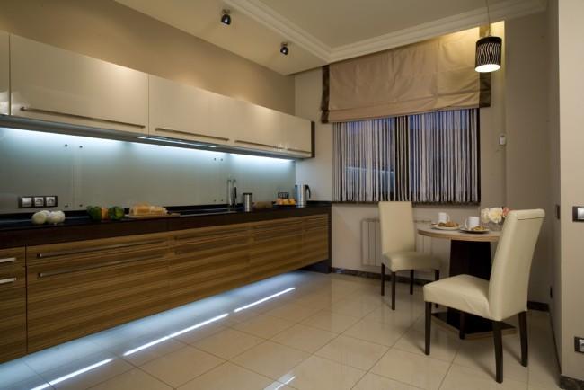 Освещение кухни линейными светодиодными светильниками