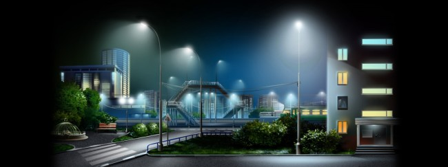 Пример ночного освещения улицы