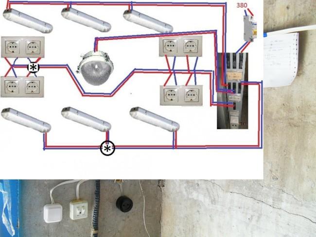 Схематическое расположение электроприборов в сети гаража