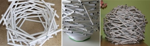Сборка абажура из бумажных трубочек